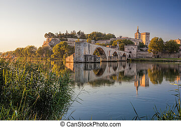 Avignon old bridge during sunset in Provence, France