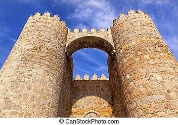Avila Castle Town Walls Arch Gate Cityscape Castile Spain - ...