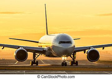 avion, à, coucher soleil