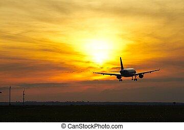 avion, à, les, coucher soleil
