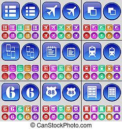 avion, écusson, buttons., liste, train, connexion, grand, archive., ensemble, copie, multi-coloré, cahier, six