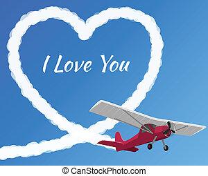 avion, amour, dessin, nuageux