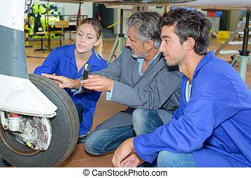 avion, apprenti, avion, maintenir, mechanicians