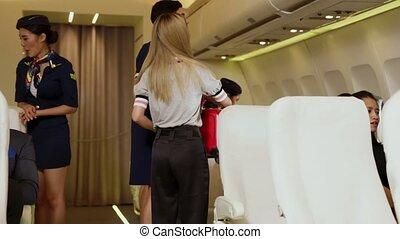 avion, ascenseur, équipage, cabine, sac, bagage