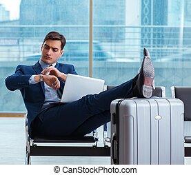 avion, attente, sien, business, aéroport, homme affaires, ...