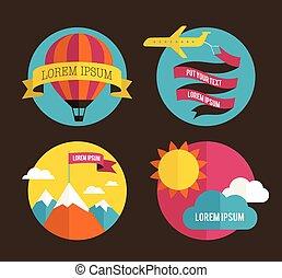 avion, balloon, arrière-plans, soleil, air