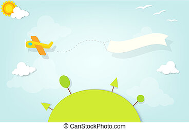 avion, bannière, publicité