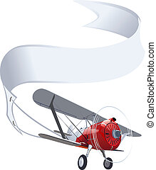 avion, bannière, retro