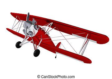 avion, baron, rouges, isolé