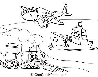 avion, bateau, train, dessin animé, coloration, page