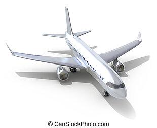 avion, blanc, fond