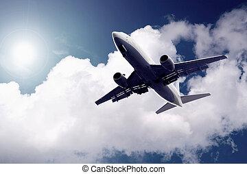 avion bleu, ciel