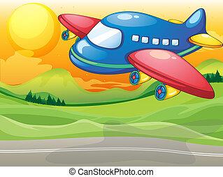 avion bleu, route, au-dessus