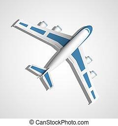 avion bleu, vecteur, vue dessus