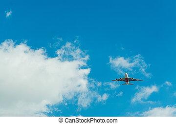 avion bleu, voler, ciel