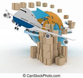 avion., boîtes, autour de, globe