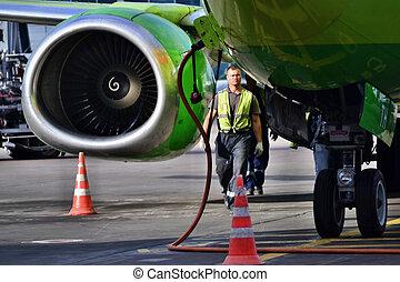 avion, boeing, entretien, stationnement