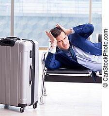 avion, business, attente, homme affaires, cla, sien, ...