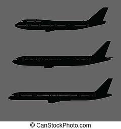 avion, côté, silhouettes, vue