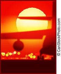 avion cargaison, à, les, coucher soleil