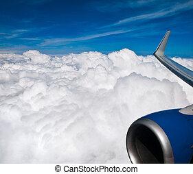 avion, ciel, vue