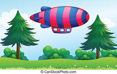 avion, collines, coloré, au-dessus