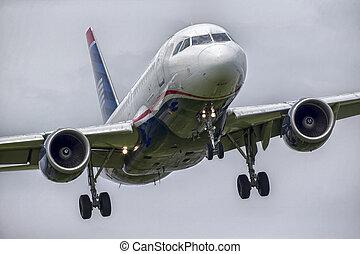avion, commercial, atterrissage