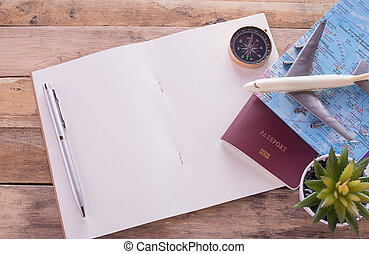 avion, compas, cahier, bois, table., passeport, vide, carte