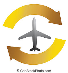 avion, concept, mouvement, cycle
