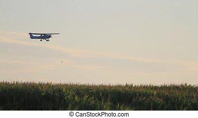 avion, contre, soleil, toile de fond, voler, levée