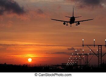 avion, coucher soleil, atterrissage