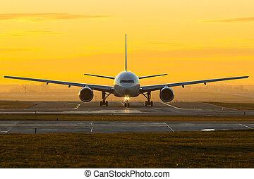 avion, coucher soleil