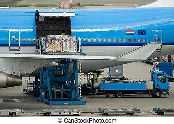 avion, déchargement, cargaison