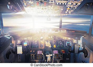avion, dans, les, coucher soleil