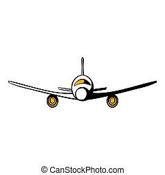 avion, dessin animé, icône