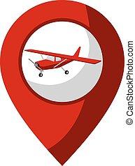 avion, emplacement, icône