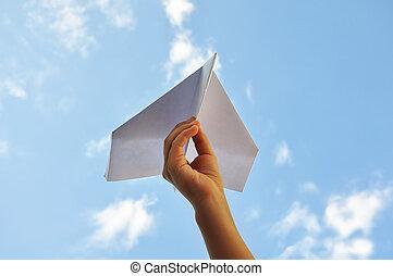 avion, enfant, ciel, contre, main