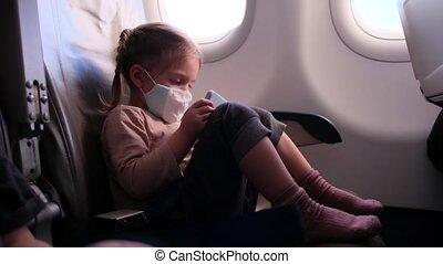 avion, enfant, smartphone