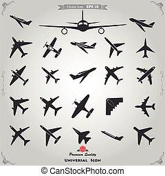 avion, ensemble, icônes