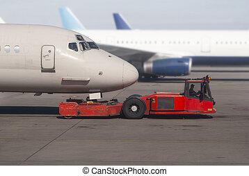 avion, fondé, rouler sol