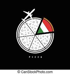 avion, illustration, pizza