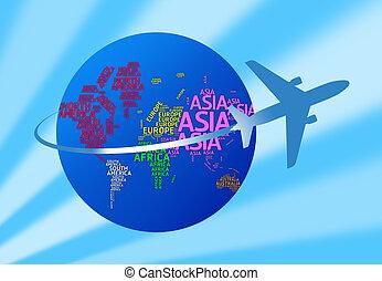 avion, &, isolé, continents