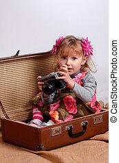 avion, jouet, jouer, gosse, heureux