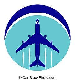 avion ligne, arrière-plan., thème, aviation., logo, cercle