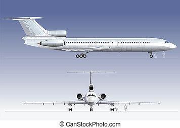 avion ligne passager, hi-detailed