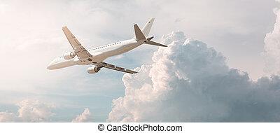 avion, loin, voler