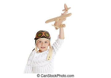 avion, main., petite fille, elle, bois