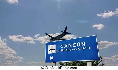 avion, mexique, canc?n, atterrissage
