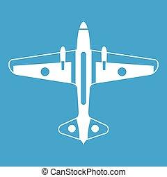 avion militaire, blanc, icône