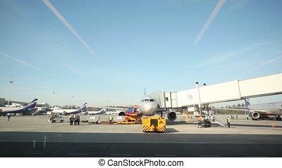 avion, moscou, aéroport, fenêtre, par, russia., vue